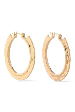 NOIR JEWELRY Hammered gold-tone hoop earrings