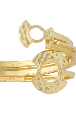 NOIR JEWELRY Set of three hammered gold-tone cuffs
