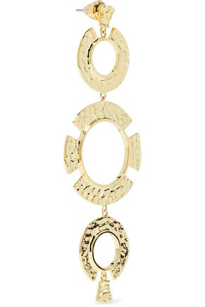 NOIR JEWELRY Hammered gold-tone earrings