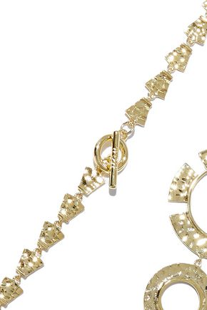 NOIR JEWELRY Hammered gold-tone necklace