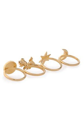 NOIR JEWELRY Set of four gold-tone rings