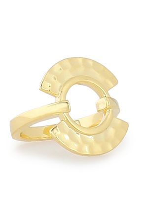 NOIR JEWELRY Hammered gold-tone ring