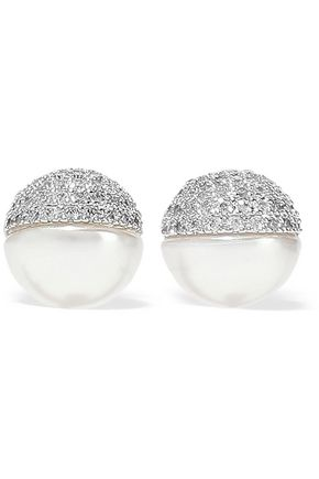 CZ by KENNETH JAY LANE Silver-tone, faux pearl and crystal earrings