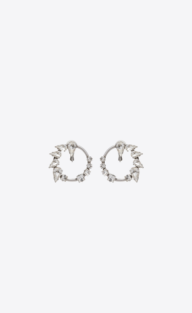 SMOKING Hoop earrings in metal and crystals