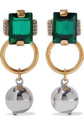 MARNI Gold-tone, crystal and bead earrings