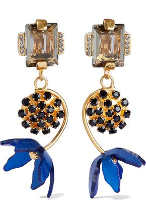 MARNI Gold-tone, crystal and resin clip earrings