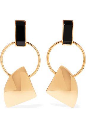 MARNI Gold-tone acetate clip earrings