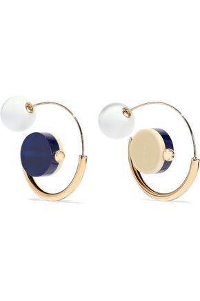MARNI Gold-tone resin hoop earrings