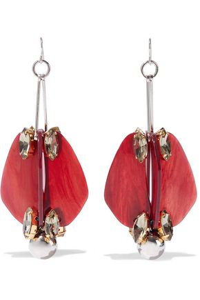 MARNI Silver and gold-tone, acetate and crystal earrings