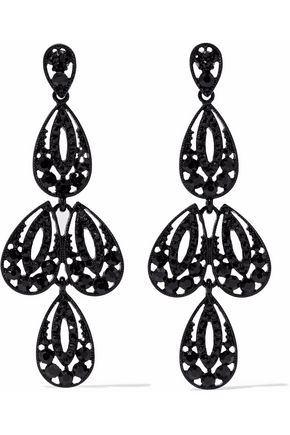 KENNETH JAY LANE Enameled silver-tone crystal earrings