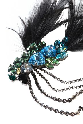 LANVIN Gold-tone, crystal and feather necklace