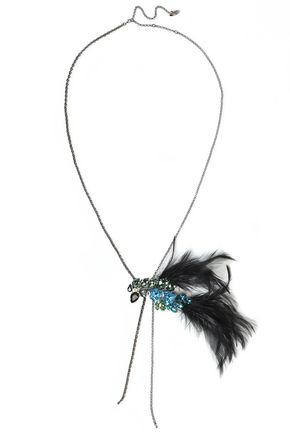 LANVIN Gold-tone, Swarovski crystal and feather necklace