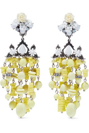 DANNIJO Lionel silver-plated, bead and crystal clip earrings