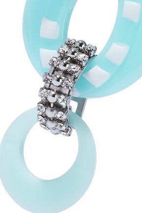 DANNIJO Armie silver-tone, crystal and resin earrings