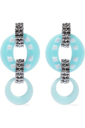 DANNIJO Armie silver-tone, crystal and resin earrings