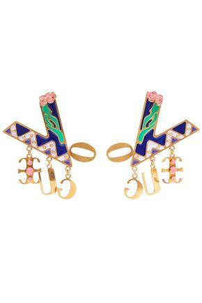 VERSACE | Versace Gold-Tone Enamel Earrings | Goxip