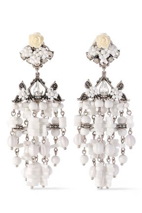 DANNIJO Silver-tone, crystal, bead and resin earrings