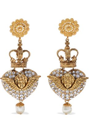 DOLCE & GABBANA Gold-tone, crystal and faux pearl clip earrings