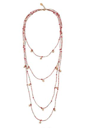 RED(V) Gold-tone beaded necklace