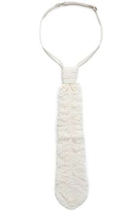 RED(V) Satin-trimmed cotton-blend lace necktie