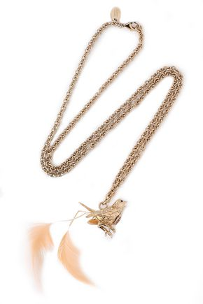 RED(V) Gold-tone, crystal and faux feather necklace