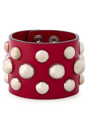 RED(V) Studded leather bracelet