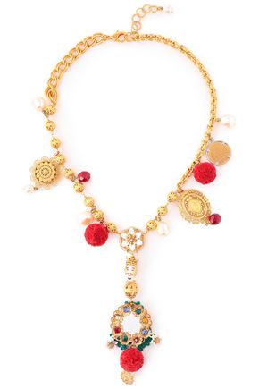 DOLCE & GABBANA Gold-tone, crystal, resin and pompom necklace