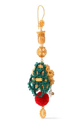 DOLCE & GABBANA Gold-tone, resin, cord and crystal earrings