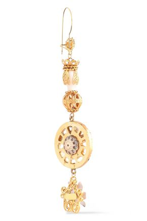 DOLCE & GABBANA Gold-tone, crystal and resin earrings