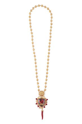 DOLCE & GABBANA Gold tone, crystal and resin necklace
