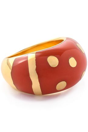 AURÉLIE BIDERMANN 18-karat gold-plated enamel ring