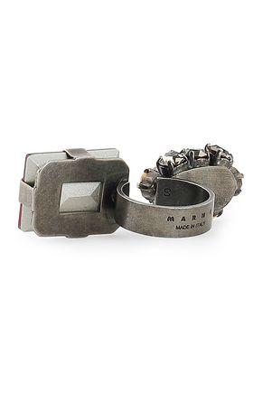 MARNI Gunmetal-tone crystal ring