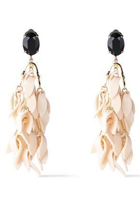 MARNI Silver and gold-tone, crystal and resin clip earrings