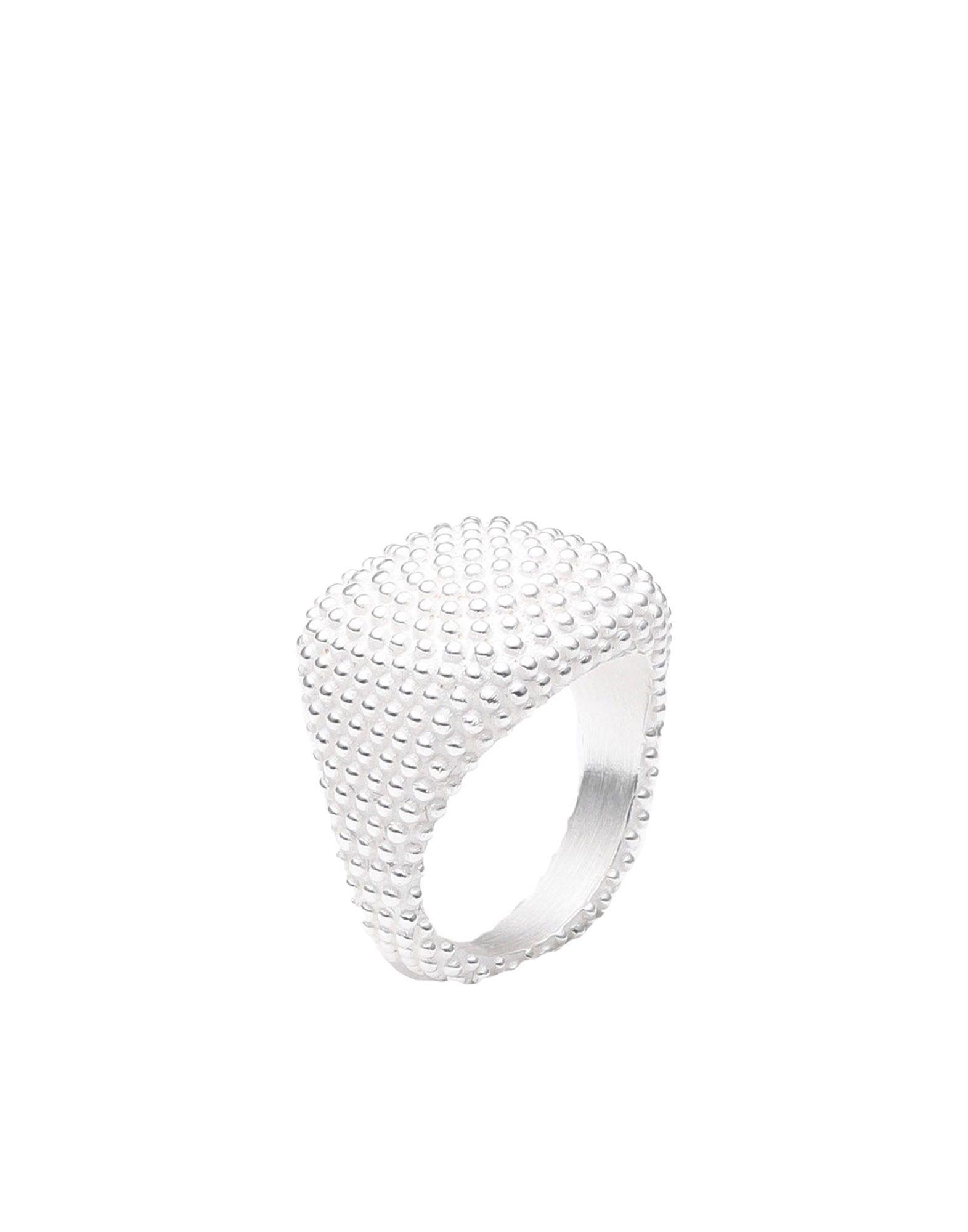 《セール開催中》NOVE25 レディース 指輪 シルバー 10 シルバー925/1000 WHITE DOTTED SQUARE SIGNET PINKY RING