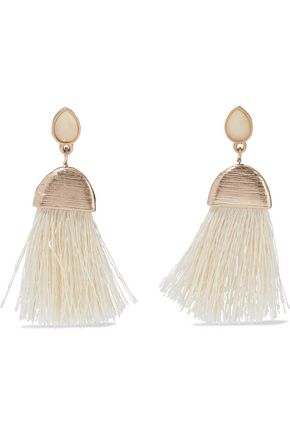 KENNETH JAY LANE Gold-tone, stone and tassel earrings