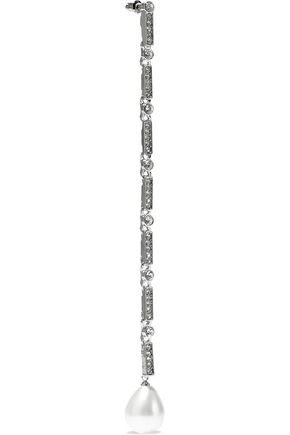 KENNETH JAY LANE Silver-tone, crystal and faux pearl earrings