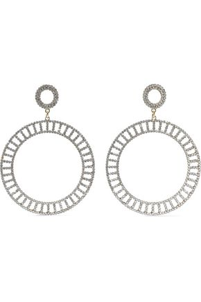 KENNETH JAY LANE Gold-tone crystal hoop earrings