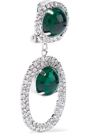KENNETH JAY LANE Silver-tone, stone and crystal clip earrings