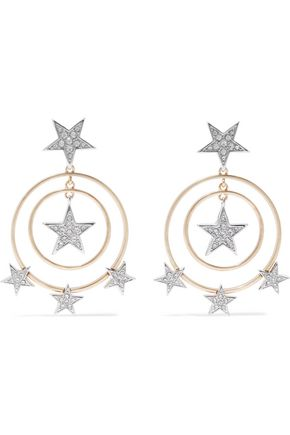 KENNETH JAY LANE Silver and gold-tone crystal earrings