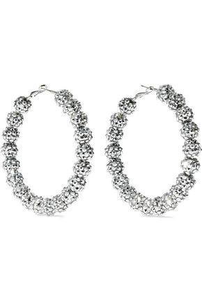 KENNETH JAY LANE Silver-tone crystal hoop earrings
