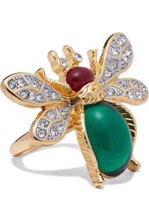 KENNETH JAY LANE Gold-tone, crystal and stone ring