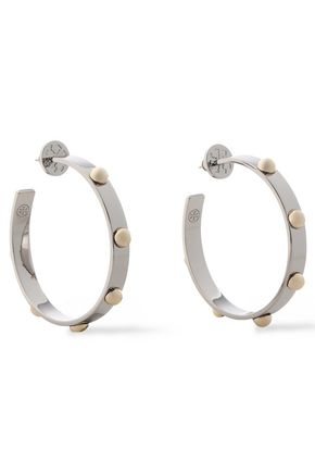 TORY BURCH Silver and gold-tone hoop earrings