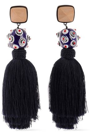 TORY BURCH Wood, enamel and tassel clip earrings