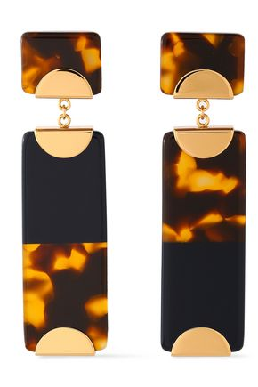 TORY BURCH Gold-tone tortoiseshell resin earrings