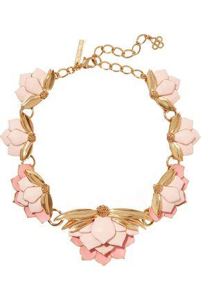 OSCAR DE LA RENTA Painted Wild Lotus gold-plated necklace