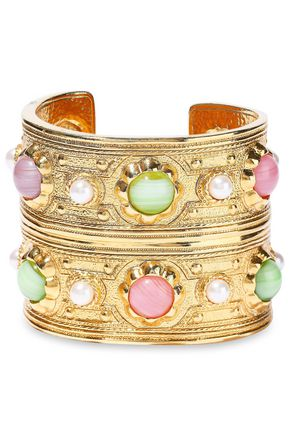 BEN-AMUN Gold-tone, stone and faux pearl cuff