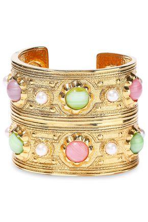 BEN-AMUN Gold-tone, stone and faux pearl cuff