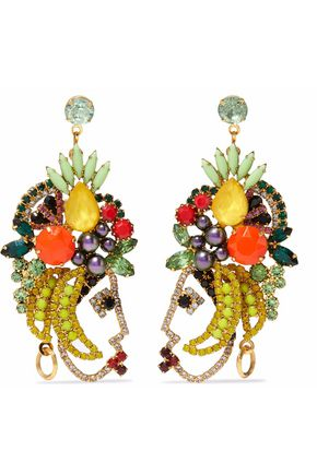 ELIZABETH COLE 24-karat gold-plated, crystal and stone earrings