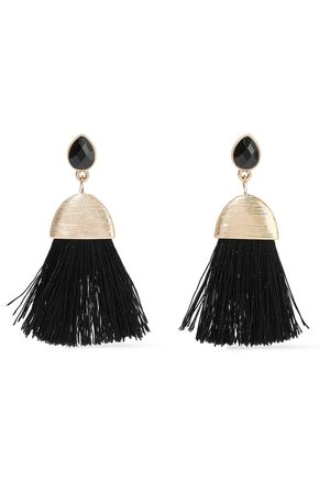 KENNETH JAY LANE Gold-tone, crystal and cord tassel earrings