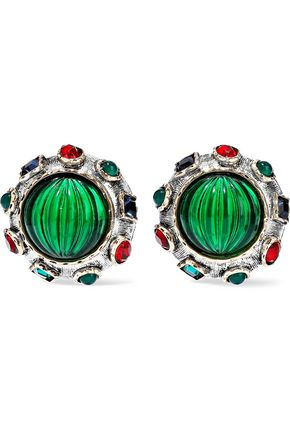 KENNETH JAY LANE Silver and gold-tone, crystal and acetate clip earrings